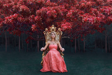 Fantasy Concept Of Queen Sitting On The Throne In Magical Forest