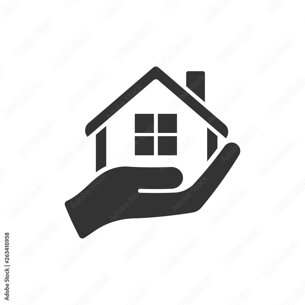Fototapeta Home care icon in flat style. Hand hold house vector illustration on white isolated background. Building quality business concept.