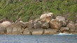 View on stones on Similan islands at sunset