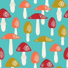 Seamless Vector Pattern With Mushrooms. Amanita And Toadstools Background.