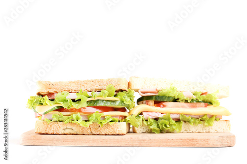 Fotografie, Obraz Tasty sandwiches with cutting board isolated on white background