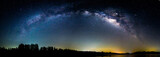 Panorama milky way at the lake in night time