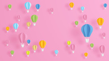 Illustration Of Hot Air Balloons On Pink Background In Paper Art Design. Paper Cut And Craft Style. Vector, Illustration.