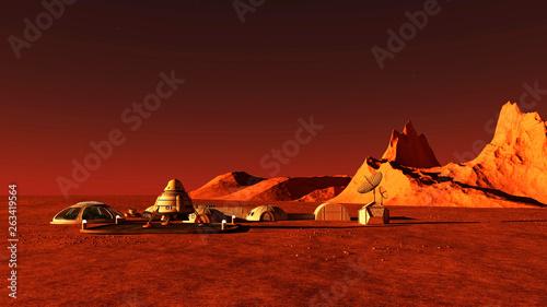Garden Poster Brown The image of Mars base 3D illustration