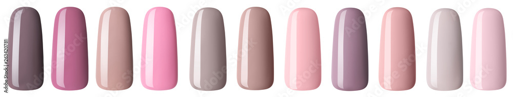 Fototapety, obrazy: Nail polish in fashion multicolored pastel color. Colorful nail lacquer in tips isolated white background