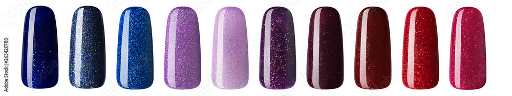 Fototapety, obrazy: Nail polish with glitter in fashion different pastel color. Colorful nail lacquer in tips isolated white background