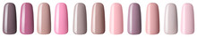 Nail Polish In Fashion Multicolored Pastel Color. Colorful Nail Lacquer In Tips Isolated White Background