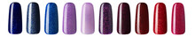 Nail Polish With Glitter In Fashion Different Pastel Color. Colorful Nail Lacquer In Tips Isolated White Background