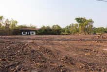 Brown Dirt On Construction Site At Thailand