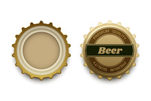Beer Cap With Premium Quality Tag In Different Views, Vector Illustration On Plain Background