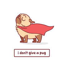 Cartoon Pug Dog Character In S...