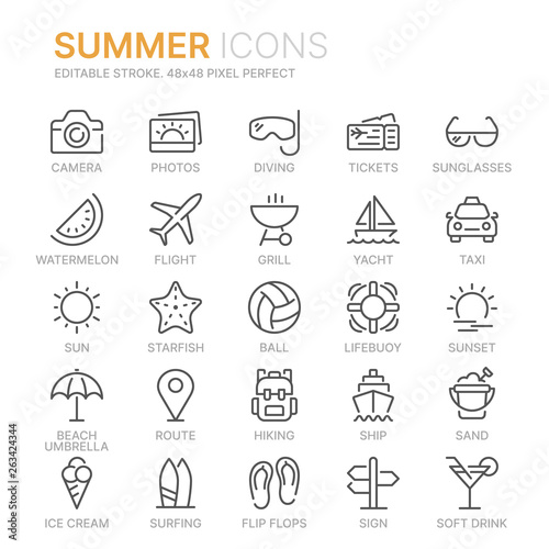 Fotografiet Collection of summer line icons