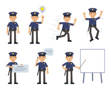 Set Of Policeman Characters Posing In Different Situations. Cheerful Police Officer Running, Jumping, Pointing Up, Talking On Phone, Instructing, Holding Banner. Flat Style Vector Illustration