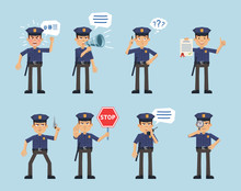 Set Of Policeman Characters Posing In Different Situations. Cheerful Policeman Talking On Cellphone, Holding Loudspeaker, Gun, Stop Sign, Document, Magnifier, Angry. Flat Style Vector Illustration
