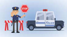 Illustration Of A Traffic Policeman Holding A Stop Sign And Standing In Front Of Police Car. Detective, Inspector, Roadblock. Police Officer Blocked The Road. Flat Style Vector Illustration