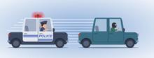 Illustration Of A Police Car Chasing A Bandit. Hot Pursuit, Detective, Inspector, Police Officer, Burglar, Man In Mask. Flat Style Vector Illustration