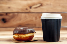 Fresh Artisan Donut And Take Away Coffee, Wooden Background With Copy Space