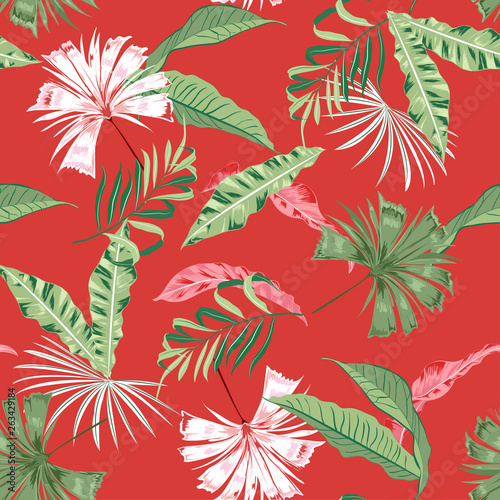 Fototapety, obrazy: Trendy tropical wild leaves and Floral seamless pattern, plant with, design for fashion,fabric,web,wallpaper and all prints
