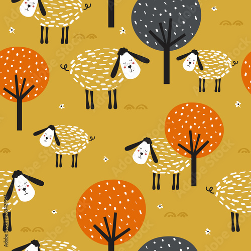 Sheeps and trees, hand drawn backdrop. Colorful seamless pattern with animals. Decorative cute wallpaper, good for printing. Overlapping colored background vector. Design illustration