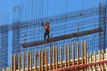 Construction Worker On Scaffol...