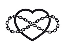 Vector Tattoo Symbol Of Never Ending Love With Chain. Isolated On White Background.