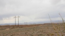 Large Telephone Poles Running ...
