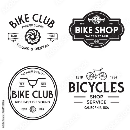 Pinturas sobre lienzo  Set of vintage and modern bike shop logo badges and labels