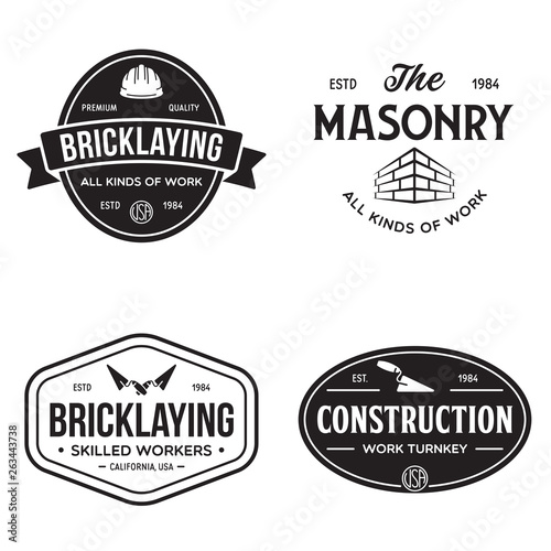 Fotomural Set of vintage construction and bricklaying labels