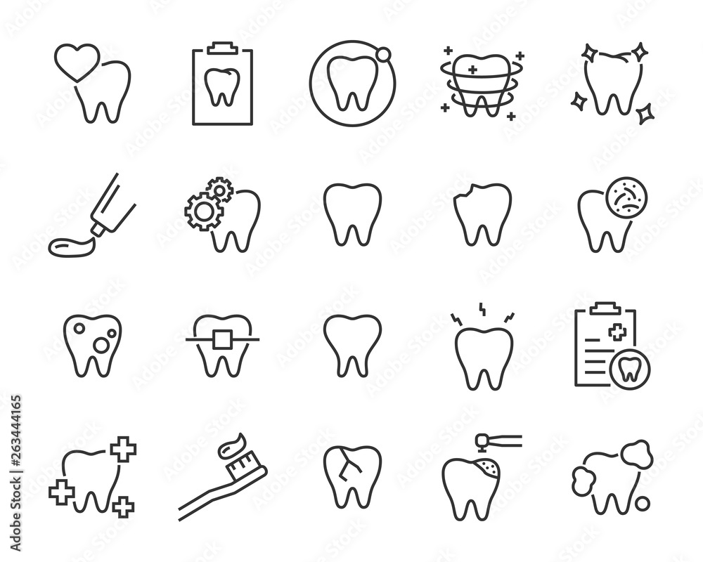 Fototapeta set of teeth icons, such as, tooth, dentist, clean, protect, treat, oral