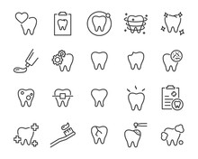 Set Of Teeth Icons, Such As, T...