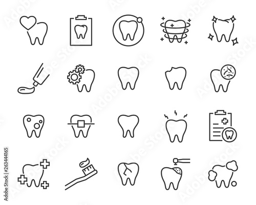 Carta da parati set of teeth icons, such as, tooth, dentist, clean, protect, treat, oral