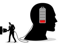 Businessman Charging A Brain