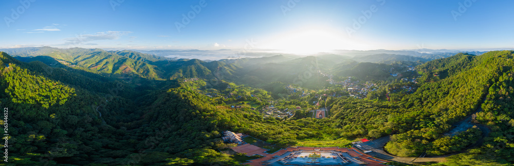 Fototapety, obrazy: panoramic landscape and over the sunlight with blue sky background on the mountain at morning mist