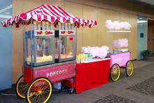 Colored Kiosk Selling Popcorn ...
