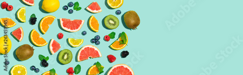 Fototapeta Collection of mixed fruits overhead view flat lay obraz