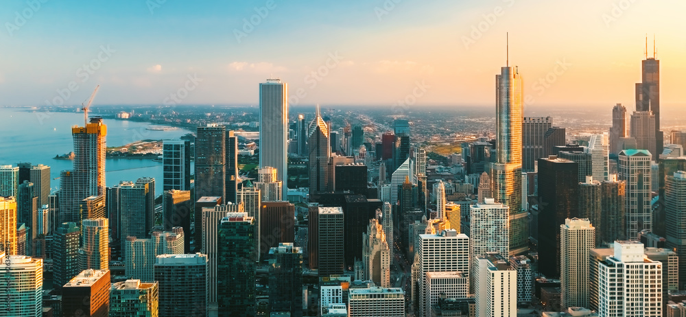 Fototapety, obrazy: Downtown Chicago cityscape skyscrapers skyline at sunset