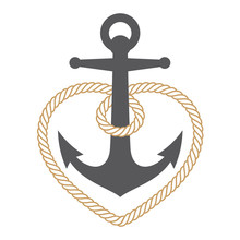 Vector Marine Anchor With Rope...