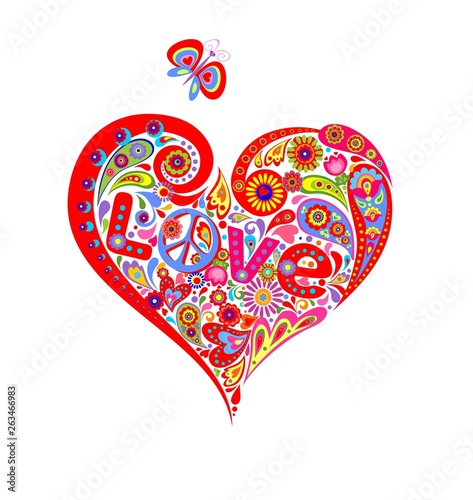 T shirt with colorful abstract heart shape with hippie peace symbol, daisy, love Wallpaper Mural