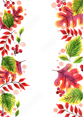 Abstract autumn leaf watercolor hand painting for decoration on autumn festival.