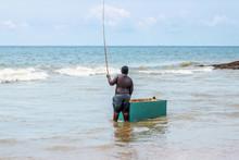 Stick Fishing Man In Ocean In Mirissa