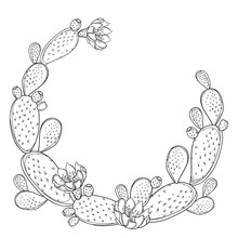 Round Frame Of Outline Indian Fig Opuntia Or Prickly Pear Cactus, Flower And Spiny Stem In Black Isolated On White Background.