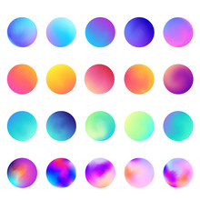 Rounded Holographic Gradient Sphere Set. Gradient Colorful Sphere In Trendy Style. Multicolor Round Buttons Or Vivid Color Spheres Flat Set. Vector Illustration 10 Eps