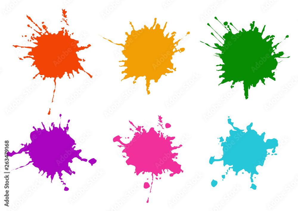 Fototapeta Vector Colorful paint splatters.Paint splashes set.Vector illustration design.