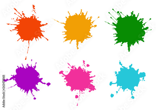 Acrylic Prints Form Vector Colorful paint splatters.Paint splashes set.Vector illustration design.