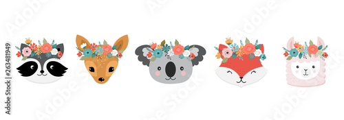 Cute animals heads with flower crown, vector illustrations for nursery design, poster, birthday greeting cards. Panda, llama, fox, koala, cat, dog, raccoon and bunny © Marina Zlochin