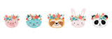 Fototapeta Fototapety na ścianę do pokoju dziecięcego - Cute animals heads with flower crown, vector illustrations for nursery design, poster, birthday greeting cards. Panda, llama, fox, koala, cat, dog, raccoon and bunny