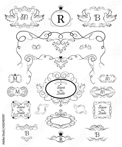 Beautiful vintage floral frames, arch, headers and vignette