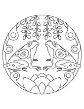 Pattern With Frog. Illustration With A Frogs. Mandala With An Animal. Frog In A Circular Frame. Coloring Page For Kids And Adults.