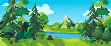 Vector Illustration Of A Sunny Forest, Mountains And A River. Cartoon Style Wallpaper, Flyer, Banner Or Landing Page. Camping Place In The Wood Near The Water.