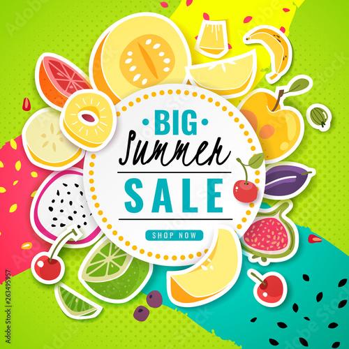 Banner fruit  Poster fresh food juice summer fruits offer